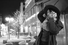 December (quattro photo) Tags: december japan 白黒 whhite black woman portrait people lights イルミネーション 青森 弘前 fujifilm xt2 xf23mm 23mm f14 xf23mmf14 snow winter 2017 monochrome iso3200