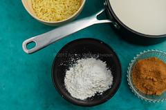 Rice pudding ingredients. (annick vanderschelden) Tags: food ingredients bowl pan rice milk puddingpowder sugar coconutblossomsugar blue dessert belgium