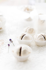 Dark Chocolate Meringue Kisses cookies (Au Petit Gout) Tags: elizabethgaubeka airy bookcover chocolate christmasbaking cookies creativeconcept darkchocolate depthoffield dessert edibleflowers editorial eggwhite flowers foodphotography foodstyling gift lancebackground lavender magazinecontent meringue meringues powdersugar recipesideas romantic seasonallight seasons softfocus softlight stilllife stylismeculinaire valentines vertical white whitebackground