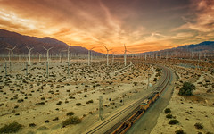 Palm Springs Sunset (Bryan the Roving Vagabond) Tags: palmsprings sunset windmill train california ca drone dji djiphantomiv clouds cloud mountain landscape sky phantom 4 pro renewable energy power locomotive rail