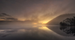 Misty Sunset, Ullswater, Lake District (MelvinNicholsonPhotography) Tags: ullswater lakes lakedistrict lake colour clouds reflection trees yellow orange melvinnicholsonphotography