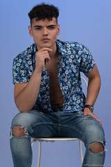 Mushraf (PhotoMechanic.uk) Tags: male man guy dude youth model pose photoshoot teen boy studio chair blue jeans shirt fashion trendy casual sit sitting