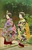 Two Kyoto Maiko 1880s (Blue Ruin 1) Tags: maiko apprenticegeisha kyomaiko kyotoapprentice geiko geisha japanese japan meijiperiod 1880s handcolouredpostcard kusakabekimbei