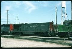 Cotton Belt 7771 (B36-7) at Armourdale Yard, Kansas City, Kansas September 08 1988 (redfusee) Tags: ssw