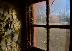 barn window (Bo Dudas) Tags: barn window farm cement cottage crack red blue perspective tree sky field crops texture balance dirt dirty spiderweb angle smudge light sunlight