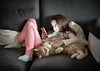 A girl & her cat. (Eddy Summers) Tags: chill chilling cat meow moggy girl tabby comfort belly couch sofa phone