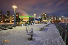 Vancouver Christmas Morning (erwin.delfin_photography) Tags: vancouver vancouverisawesome vancouvertourism vancity vancouvercanada vancouverskyline beautifulbritishcolumbia beatifulvancouver snow snowyvancouver stadium bcstadium olympicvillage fraserriver sundaylights