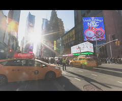 New York City Streets, Yellow Cab, Times Square, Happy Holidays NYC, New York City, United States of America (iesphotography) Tags: newyork unitedstatesofamerica usa travel winter nyc ny bigapple travelphotography citybreak newyorkcity vacation location states stateside topofempirestate sunset empire worldtrade skyscraper