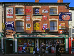 Ross on Wye shopfront (robmcrorie) Tags: tizer fixer shop ross wye black cat cigarettes sunday dispatch virginia park drive pleasure extract polske scklep palethorpes royal cambridge sausage lyons chicory white ginger beer pug tugowar maynards wine gums tiger embrocation godwards players navy cut fry chocolate high class premier off licence big 24 pages goalie independent store 1872 iphone 7 plus news world largestweeklynewspapershop frontenameladvertisingsign
