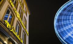 City Lights Of Düsseldorf (Michael A64) Tags: city light lights düsseldorf stadt licht lichter riesenrad giant wheel sony a6000 sigma 19mm langzeitbelichtung long exposure farben colours blue yello blau gelb altstadt frankenheim alt bier nacht night