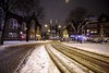De Krijtberg from Spui square, after the snowfall (cigno5!) Tags: snow snowfall square spui railways paths church neogothic yellow darkness dirty white
