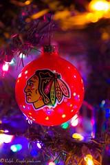 Blackhawks (Krugler) Tags: chicago blackhawks christmas ornament tree lights nhl hockey ball macro