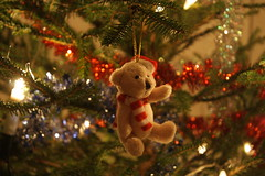 Christmas tree: a teddy bear (Some-E) Tags: christmas christmastree decoration spruce ornaments sooc joulu lights