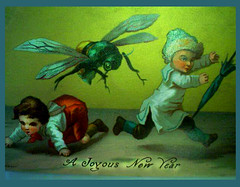 A Strange New Year's Card -- no date. (JFGryphon) Tags: giantfly newyearscard entomology weird strange timeflies kids panic joyousnewyear happynewyear umbrella child panicked frivolity fun greenfly thefly