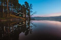 December sunset (mirri_inc) Tags: cabin sunset calm nature outdoors nikon tokina landscape nordic scandinavia blue