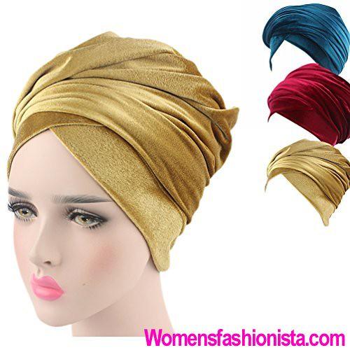 4316d438cc7 (3 Packs) Multi usage Velvet Magic Turban Hijab Head Wrap Long Tube Indian  Headwrap. Qingfan Women Crochet Solid Pre Tied Warm Cancer Chemo Hat Beanie  ...