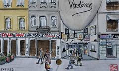 Le cinéma Vendôme (Ixelles) (chando*) Tags: aquarelle watercolor croquis sketch