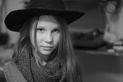 _DSC9836 (Oleg Green (lost)) Tags: portrait country girl hat home family blackandwhite raw unedited apsc nex voigtlander nokton 1550 bokeh