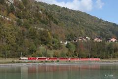 Ge 4/4 II nipponne (Frédérick Jury) Tags: rhb breil brigels train bahn