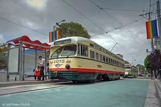 MUNI F-LINE CARS--1072, 1078 at 17th Street/Castro