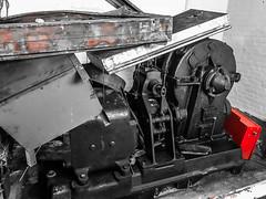 (kennymiskell) Tags: industry industrial hostoric fire pump firepump car ford cincinnati black white red blue yellow blackwhite light garage hallway creepy haunted ghost railing rail steps gears bolts fence safe iron wood pole