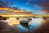 Blue & Gold Sunrise (Beth Wode Photography) Tags: yellow blue sunrise dawn morning reflections boats lowtide sunriseclouds victoriapoint redlands beth wode bethwode seascape bluegold