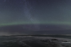 Over the bay. (Kjartan Guðmundur) Tags: iceland ísland auroraborealis northernlights nightscape nocturne ngc nordlys surf shadow shore stars sky kjartanguðmundur arctic photoguide