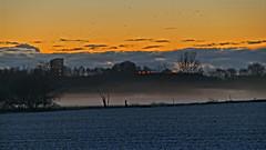 Sunset over Herning (Steenjep) Tags: herning sunset solnegang landskab landscape bluehour blå blue tåge snow sne vinter winter hdr sky himmel cloud fogh rimtåge frost frozen fog mark field