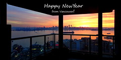 For you! (peggyhr) Tags: peggyhr sunset harbour sityscape skyline urban greetings dedication happy2018 colourful lights reflections silhouettes railing balcony dsc04827azy vancouver bc canada thegalaxy
