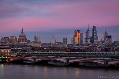 Sunset from the Oxo Tower (Daniel Coyle) Tags: cityskyline cityoflondonskyline cityoflondon london longexposure sunset sunsetovercentrallondon sunsetoverlondon sunsetfromtheoxotower oxotower oxo river riverthames thames water danielcoyle d7100 nikond7100 nikon reflections cheesegrater 122leadenhallst natwesttower tower42 gherkin 30stmaryax 30stmaryannexe herontower blackfriarsbridge blackfriars blackfriarsbridges blackfriarsroadbridge blackfriarsrailbridge bluehour dusk clouds sky skyscraper skyscrapercity