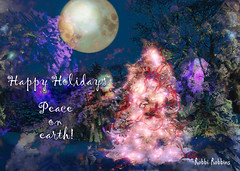 Peaceful Night (brillianthues) Tags: christmas holiday moon tree trees colorful collage photography photmanuplation photoshop