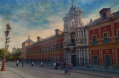 Cycling in Seville (Jocelyn777) Tags: tourists cyclists bicycle seville andalucia spain travel textured