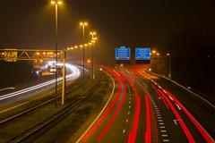 Knooppunt Sint Annabosch, A58-A27 (EtienneMuis) Tags: a58 a27 nightphoto nightphotography lightlines highway freeway autosnelweg snelweg auto weg wegen bewegwijzering sluitertijd sint annabosch knooppunt