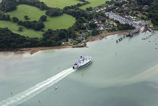 Wightlink Isle of Wight ferry entering Fishbourne - UK aerial