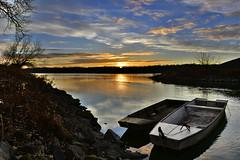 dec.31.sunset (bakosgabor57) Tags: sunset moonrise boat fishing sky cloud nikon d7200 dslr colors reeds pier light hdr flat anchor bank rampart blue gold