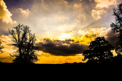 behind the clouds (Paul Wrights Reserved) Tags: skyscape sky colours silhouette landscape clouds cloud sun light sunlight tree sunburst evening sunset horizon