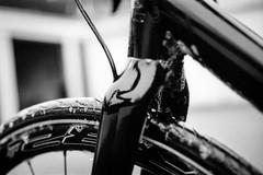 bike wash (chipsmitmayo) Tags: minolta xd7 rokkor 50mm f14 kodak trix 400 film analog schwarzweiss blackandwhite rad cyclocross wäsche schaum rahmen schwarz garage hof sauber bike bicycle felgen gabel carbon glanz