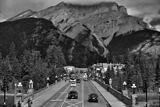 Standing in Cascade Gardens (Black & White, Banff)