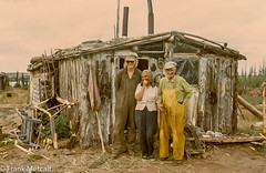 Fred Riddle and Adeline Chaffee, with helper Earl Stobbe, Damant Lake, 1975 (frankmetcalf) Tags: thelon damant dubawnt fredriddle trapper taiga tundra northwestterritories ecotone treeline littlesticks dene stonyrapids chipewyan legend elkriver canada farnorth fmnwt