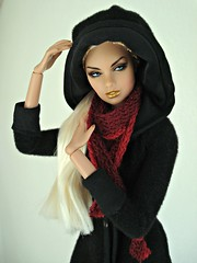 Hooded woman (Deejay Bafaroy) Tags: fashion royalty fr integrity toys erin 24k doll puppe barbie portrait porträt black schwarz red rot erinsalston
