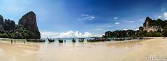 Railay west-Panorama (Lцdо\/іс) Tags: lцdоіс thailande thailand thailandia krabi aonang railay railey west beach beauty beautiful travel trip long tail boa boat plage white sand world panorama panoramique paysage panoramic big bay
