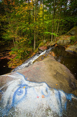 The face of the forest (Rabican7) Tags: fall waterfalls forest woods trees colors purgatoryfalls newhampshire water face graffiti drawing newengland nature waterfall autumn leaves photography nikon tokina wide angle interesting