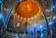 Persian Symetry (TranceVelebit) Tags: iran islamic republic of persia persian isfahan esfahan naqshe jahan square sheikh lotfollah mosque masjid safavid dynasty islam shia architecture urban dome blue orange tile work art interior light symetry