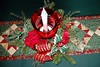 Wife's Christmas centerpiece (Martin LaBar) Tags: christmas tablecloth centerpiece holiday celebration incarnation light red green