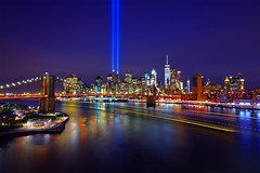 9/11 Tribute in Light, Brooklyn Bridge, One World Trade Center (Bryan Carnathan) Tags: tributeinlight tributelights tribute memorial 911 worldtradecenter oneworldtradecenter janescarousel brooklynbridgepark manhattan newyork newyorkcity nyc photography neverforget city cityscape night nightscape urban skyline river eastriver waterfront longexposurephotography emotional canon canonusa canoneos5dsr myrrs reallyrightstuff rrs