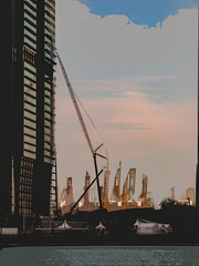 Cranking It Up (Steve Taylor (Photography)) Tags: art abstract digital architecture crane construction building asia singapore cloud sky