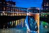 Streets of Malmö (Maria Eklind) Tags: bluehour bridge street water spegling city rörsjökanalen dusk building canal kaptensbron papperskorg malmö bro sky twilight blue kanal reflection recyclebin södraförstadskanalen sweden streetsofmalmö skånelän sverige se