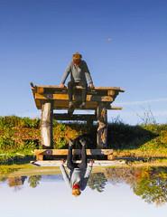 Mirror Mirror (CoolMcFlash) Tags: person woman sitting looking water reflection sky blue canon eos 60d lake frau sitzen schauen wasser spiegelung himmel blau see fotografie photography tamron b008 18270