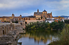 Cordoba, The Mosque and Roman Bridge (Jocelyn777) Tags: architecture buildings monuments cathedral mosque mezquita bridges romanbridge reflections waterreflections textured andalucia cordoba spain travel