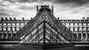 Paris 2015 - Pyramide du Louvre (cesbai1) Tags: paris ile de france 75 2015 musee du louvre pyramide architecture black white noir et blanc nb bw museum